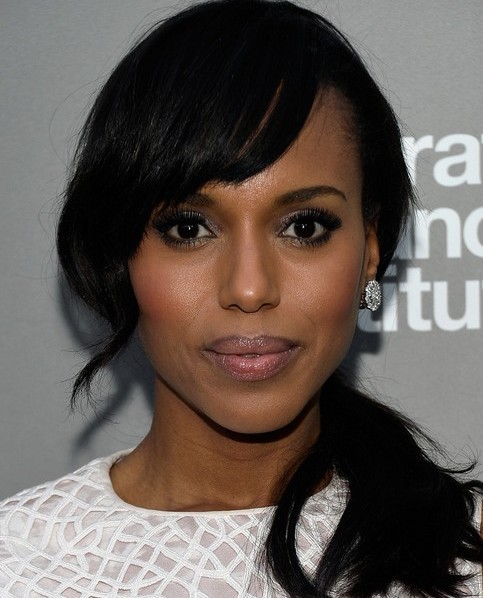 Kerry-Washington-Hairstyles-Side-Ponytail-Hairstyle-for-African-American-Women